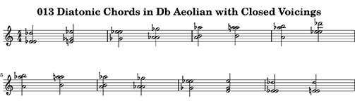 013 Diatonic Chords in Db Aeolian with Closed Voicings from ChopBusters: 013 Diatonic Chords Ascending and Descending in Major Modes