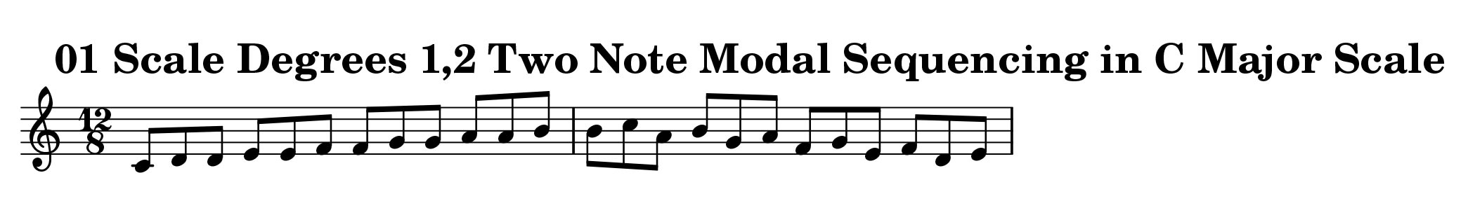Two Note Modal Sequence Ascending and Descending in C Major by Bruce Arnold for Muse Eek Publishing