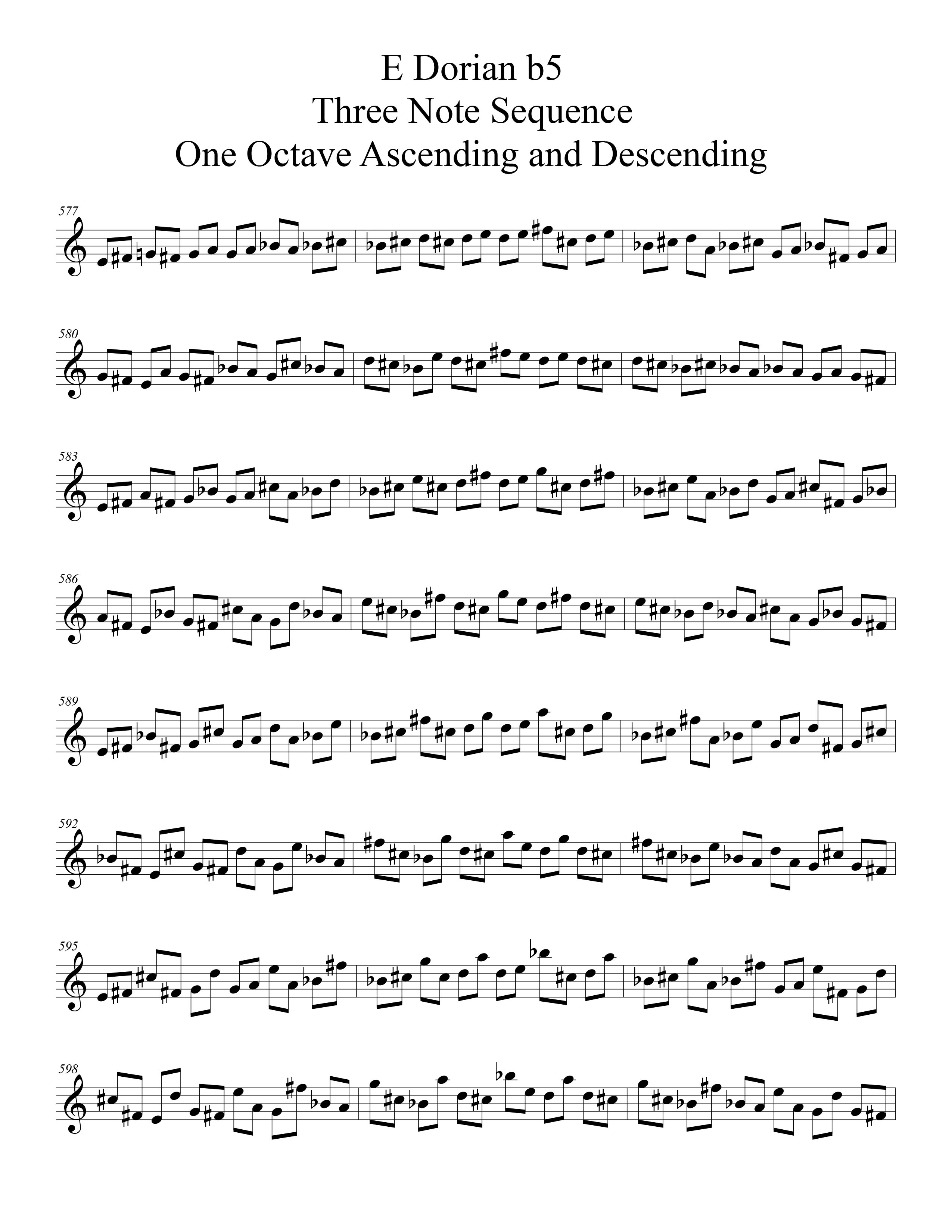 E Dorian b5 Scale Modal Sequencing 3 Note Group 3 for all instrumentalist by Bruce Arnold for Muse Eek Publishing Company