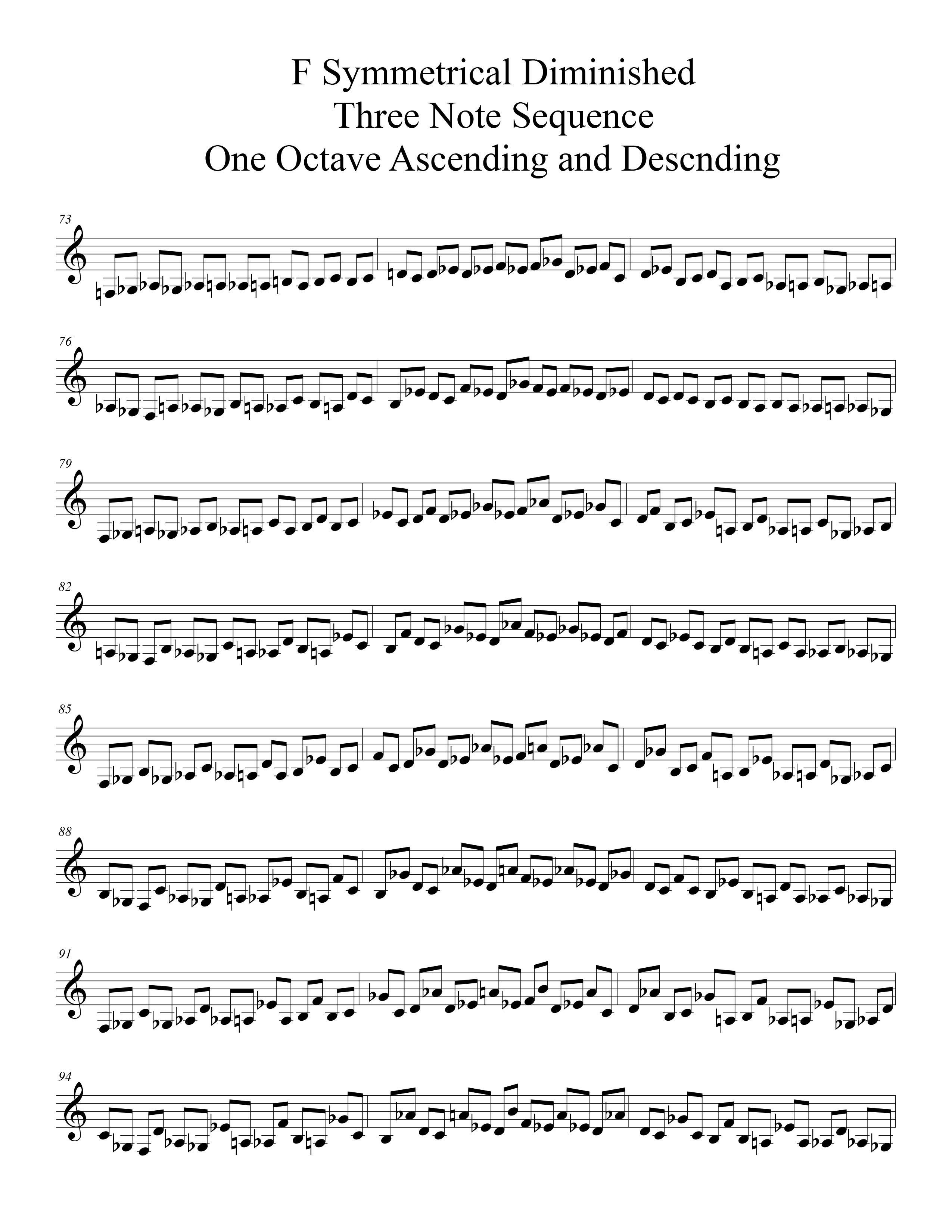 F Symmetrical Diminished Scale Modal Sequencing 3 Note Group 3 for all instrumentalist by Bruce Arnold for Muse Eek Publishing Company