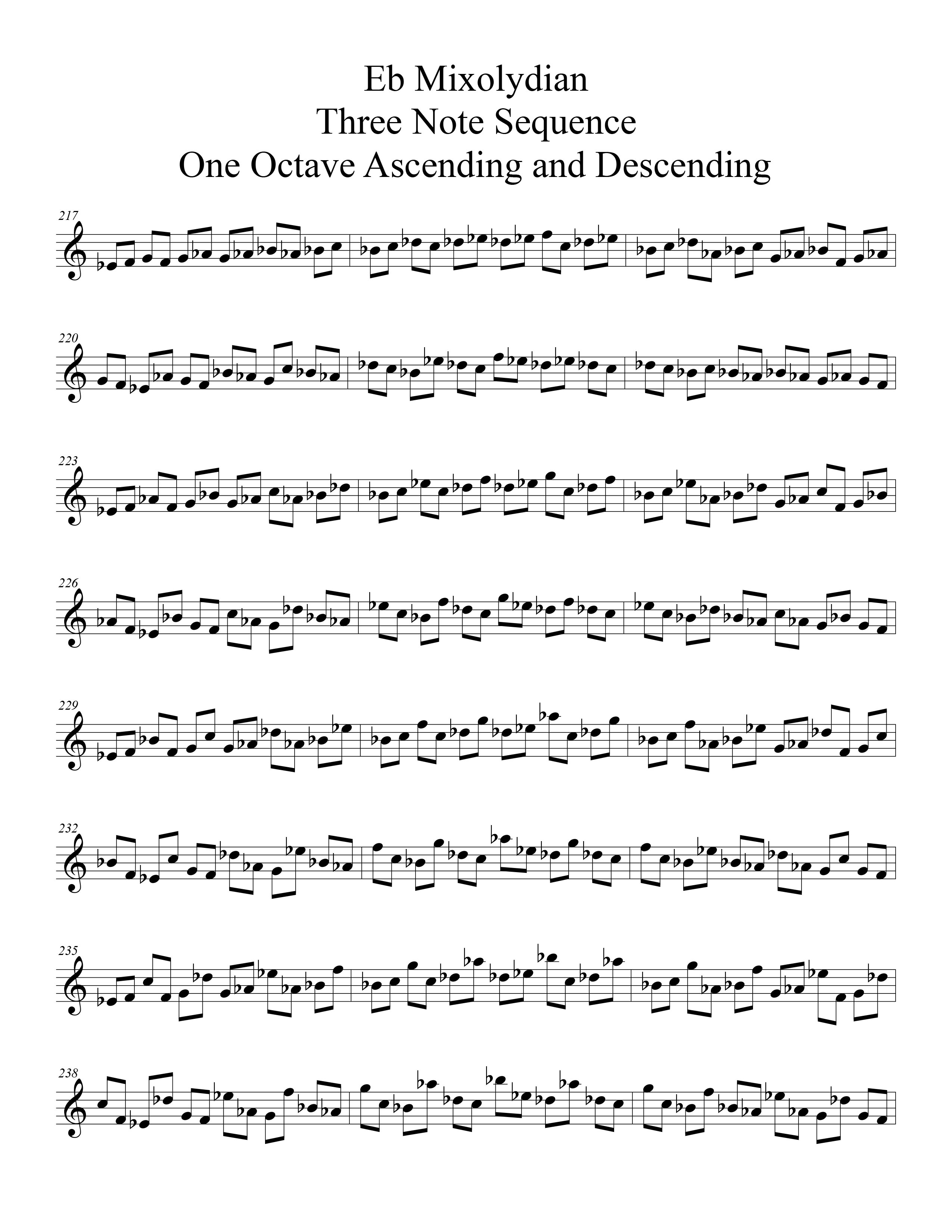 Eb Mixolydian Modal Sequencing 3 Note One_Octave Ascending and Descending Modal Sequencing 3 Note Group 1 for all instrumentalist by Bruce Arnold for Muse Eek Publishing Company