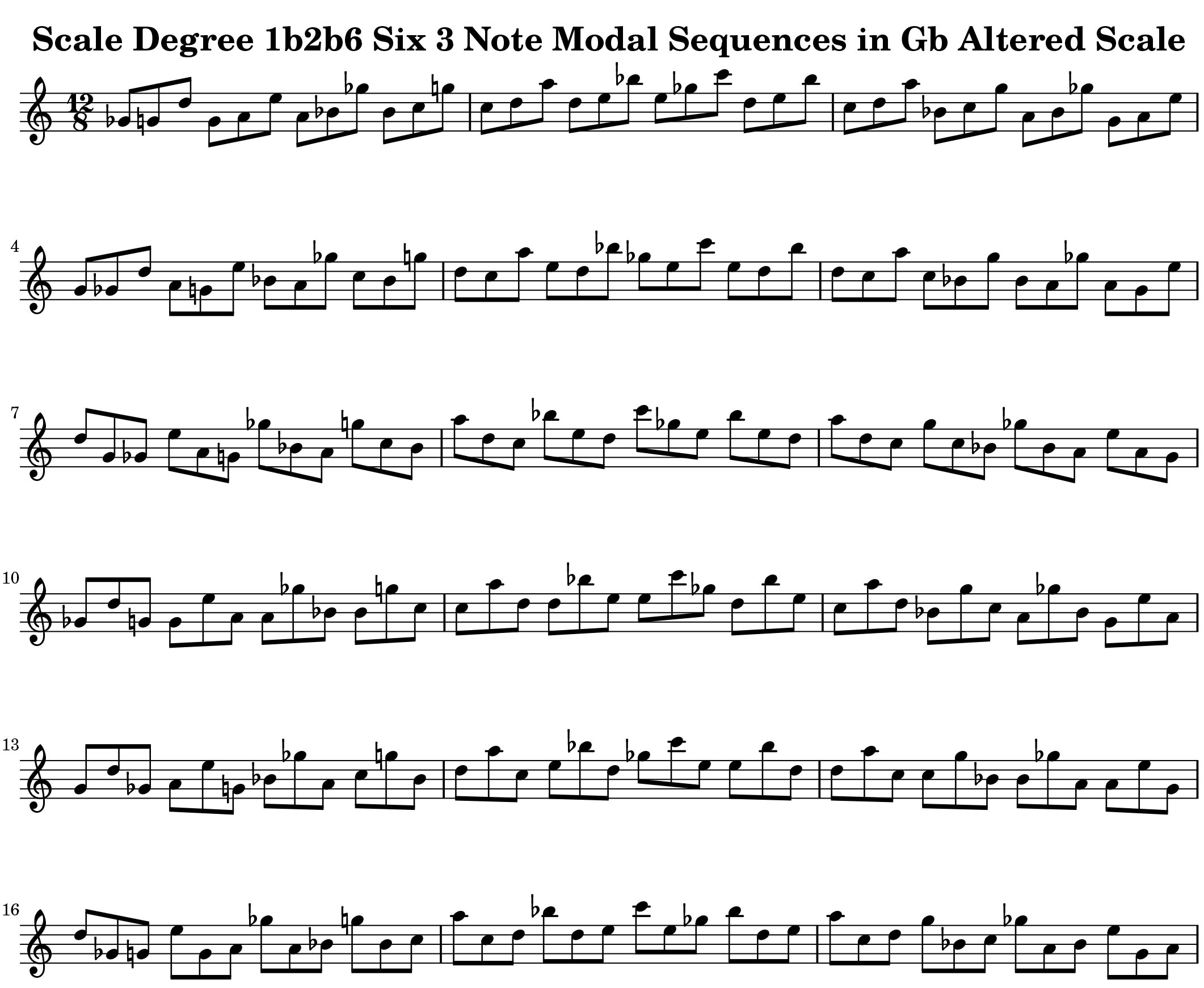 Gb Altered Scale Modal Sequencing 3 Note Group 2 for all instrumentalist by Bruce Arnold for Muse Eek Publishing Company