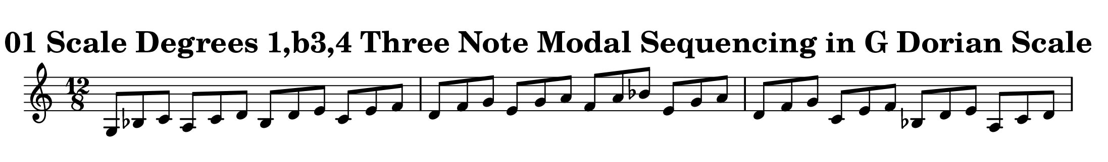 Three Note Modal Sequence Ascending and Descending in G Dorian by Bruce Arnold for Muse Eek Publishing
