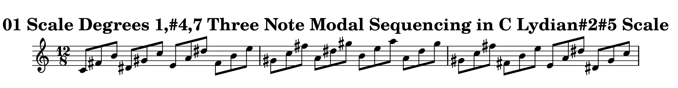 C Lydian#2#5 Scale Modal Sequencing 3 Note Group 4 for all instrumentalist by Bruce Arnold for Muse Eek Publishing Company