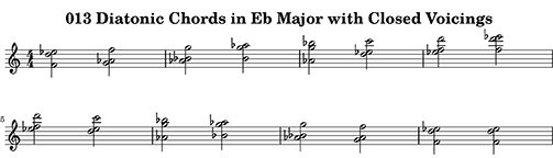 013 Diatonic Chords in Eb Major with Closed Voicings ChopBusters: 013 Diatonic Chords Ascending and Descending in Major Modes