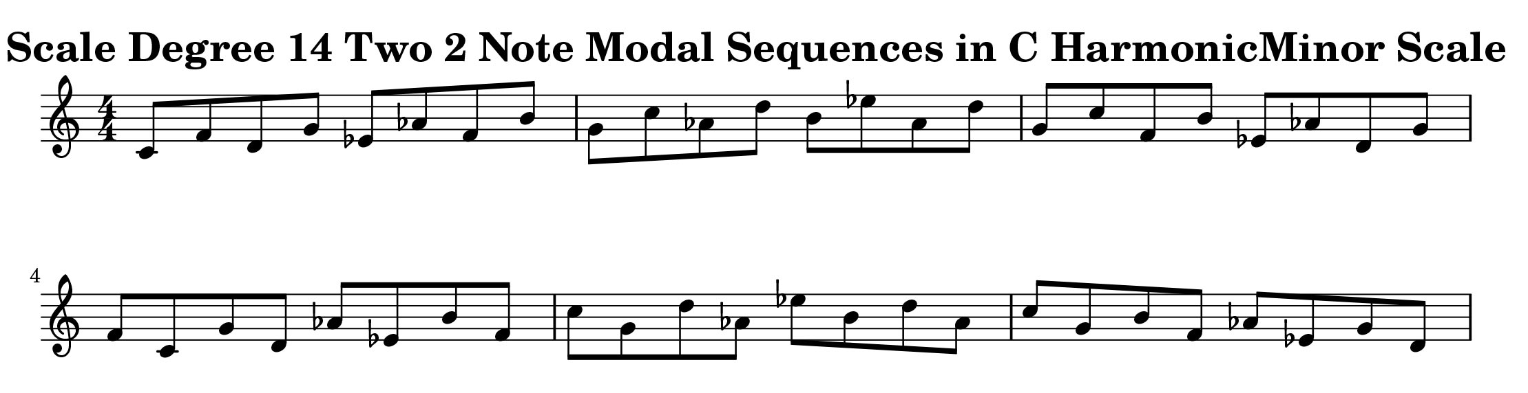 C Harmonic Minor Scale Modal Sequencing 2 Note Group 3 for all instrumentalist by Bruce Arnold for Muse Eek Publishing Company