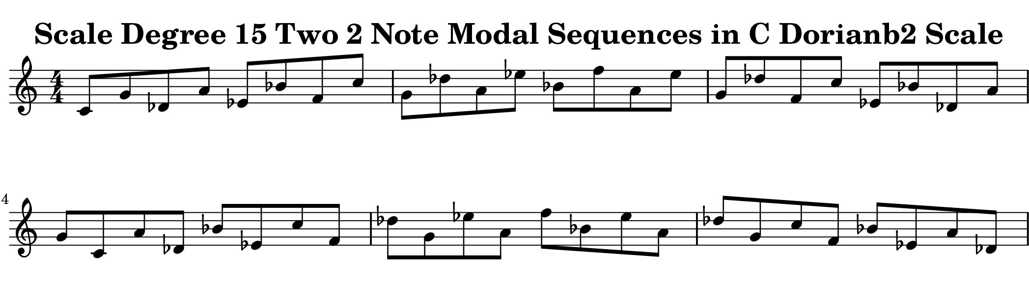 Dorian b2 Scale Modal Sequencing 2 Note One_Octave Ascending and Descending Modal Sequencing 2 Note Group 4 for all instrumentalist by Bruce Arnold for Muse Eek Publishing Company