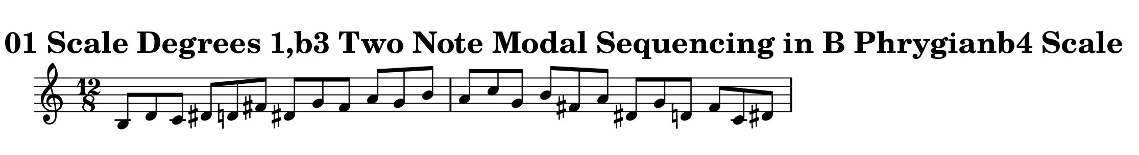 B Phrygian b4 Scale Modal Sequencing 2 Note Group 3 for all instrumentalist by Bruce Arnold for Muse Eek Publishing Company