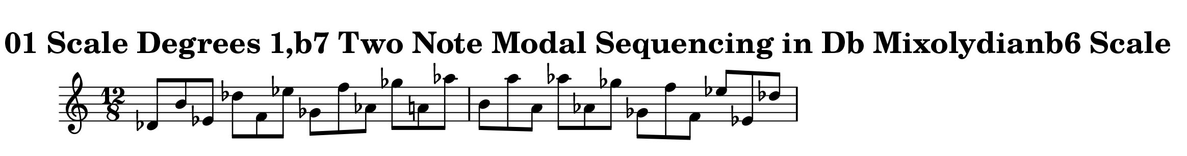 Db Mixolydian Scale Modal Sequencing 2 Note One_Octave Ascending and Descending Modal Sequencing 2 Note Group 4 for all instrumentalist by Bruce Arnold for Muse Eek Publishing Company