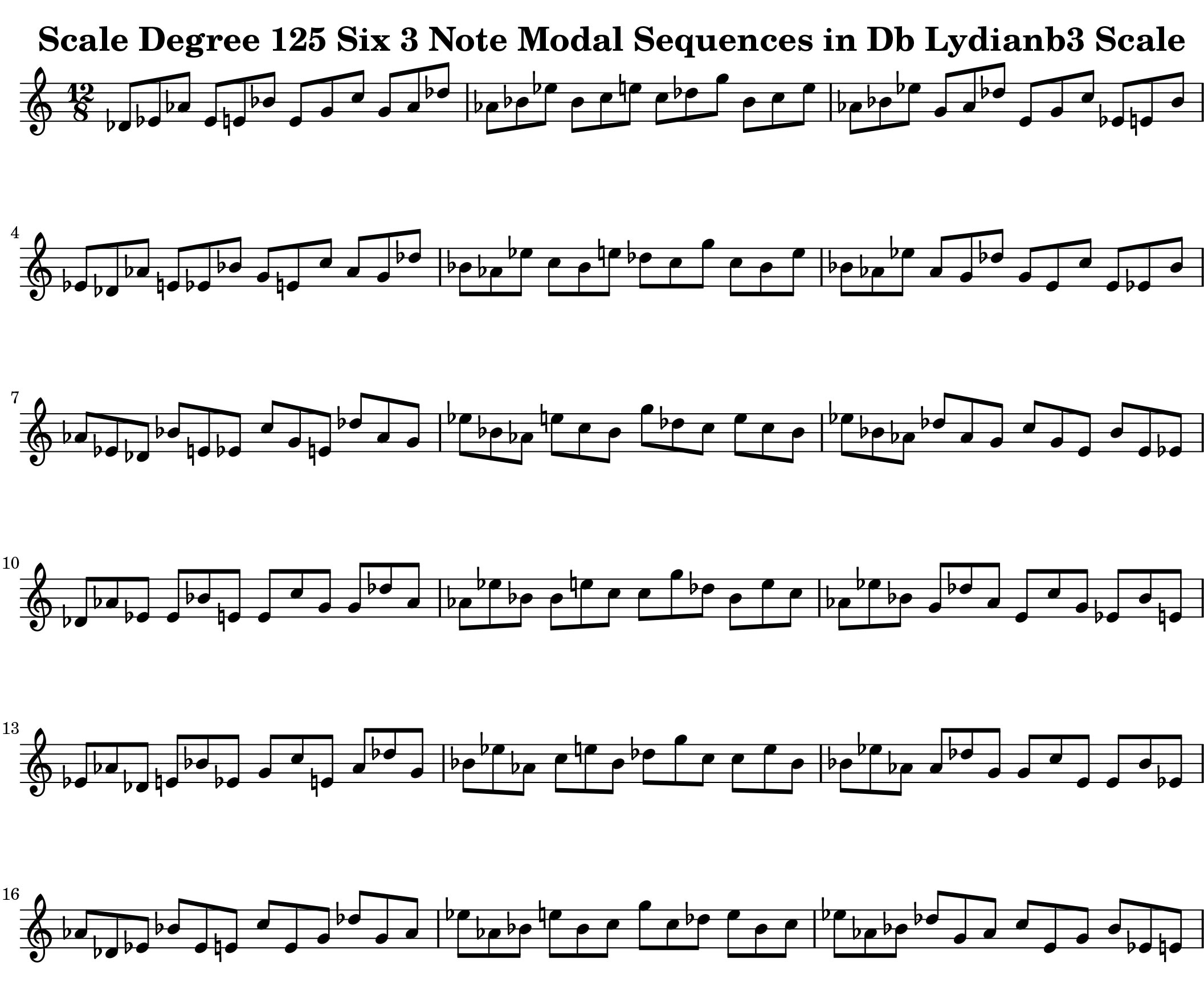 Db Lydian b3 Scale Modal Sequencing 3 Note Group 3 for all instrumentalist by Bruce Arnold for Muse Eek Publishing Company