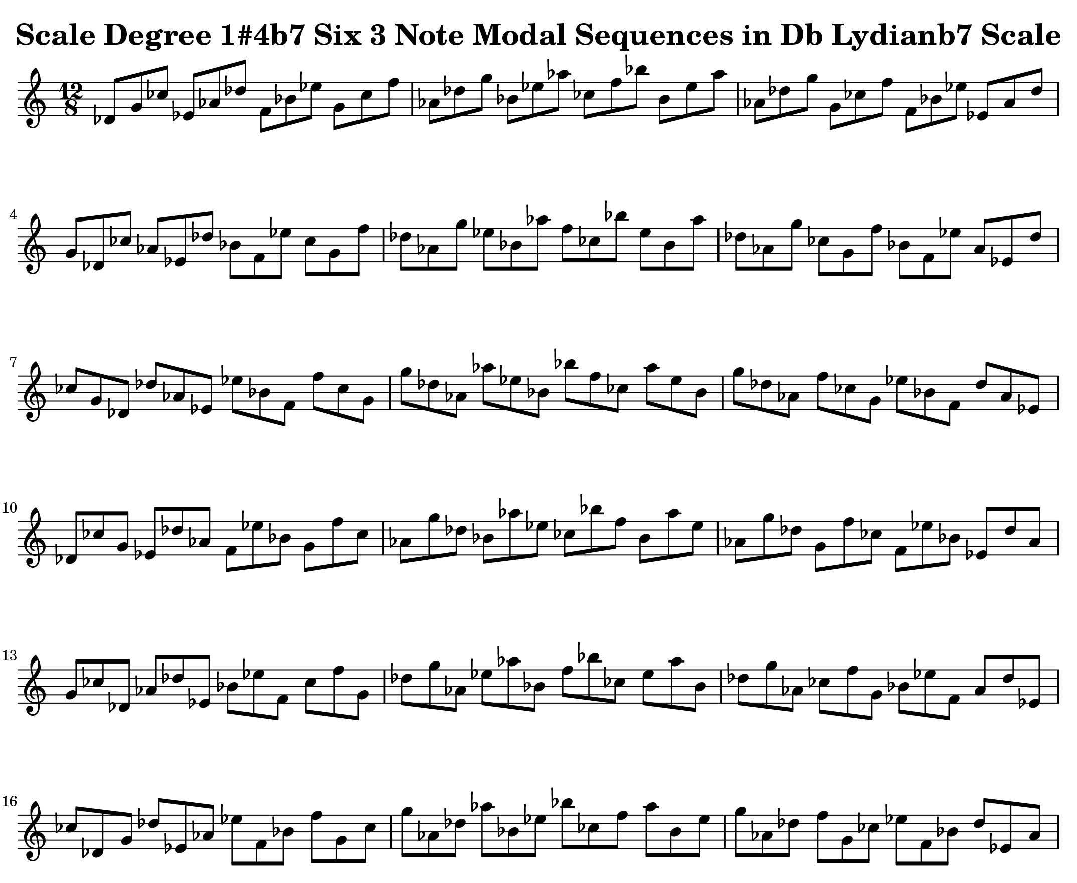 Db Lydian b7 Scale Modal Sequencing 3 Note One_Octave Ascending and Descending Modal Sequencing 3 Note Group 2 for all instrumentalist by Bruce Arnold for Muse Eek Publishing Company