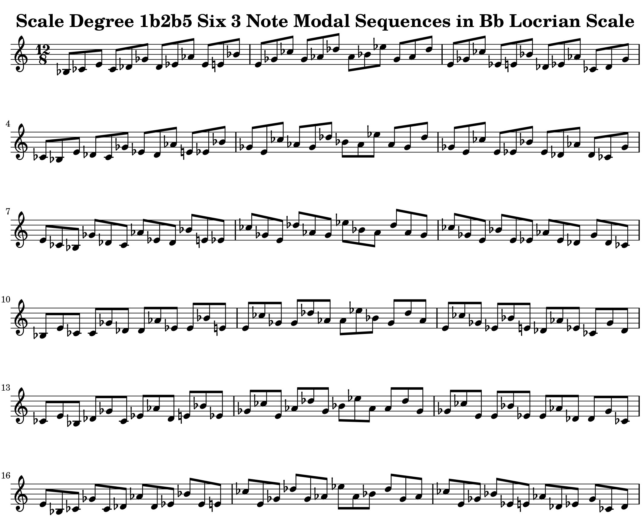 Bb Locrian 3 Note Modal Sequences by Bruce Arnold for Muse Eek Publishing