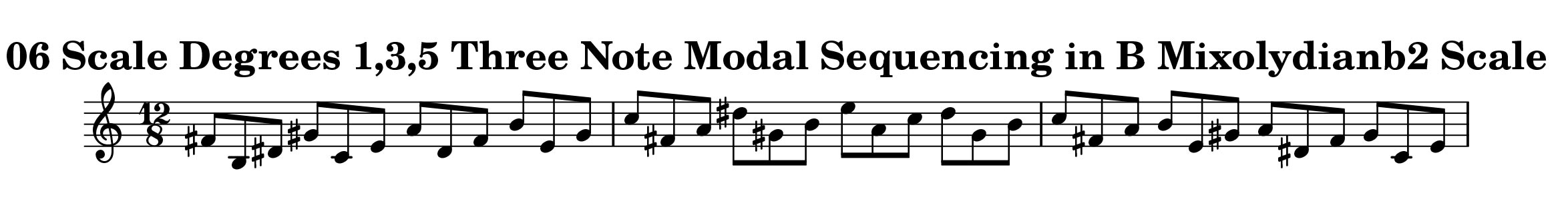 B Mixolydian b2 Scale Modal Sequencing 3 Note Group 3 for all instrumentalist by Bruce Arnold for Muse Eek Publishing Company