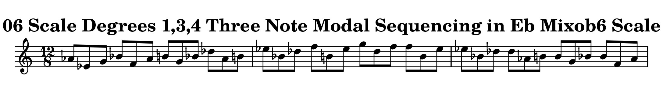 Eb Mixolydian b6 Scale Modal Sequencing 23 Note One_Octave Ascending and Descending Modal Sequencing 3 Note Group 2 for all instrumentalist by Bruce Arnold for Muse Eek Publishing Company
