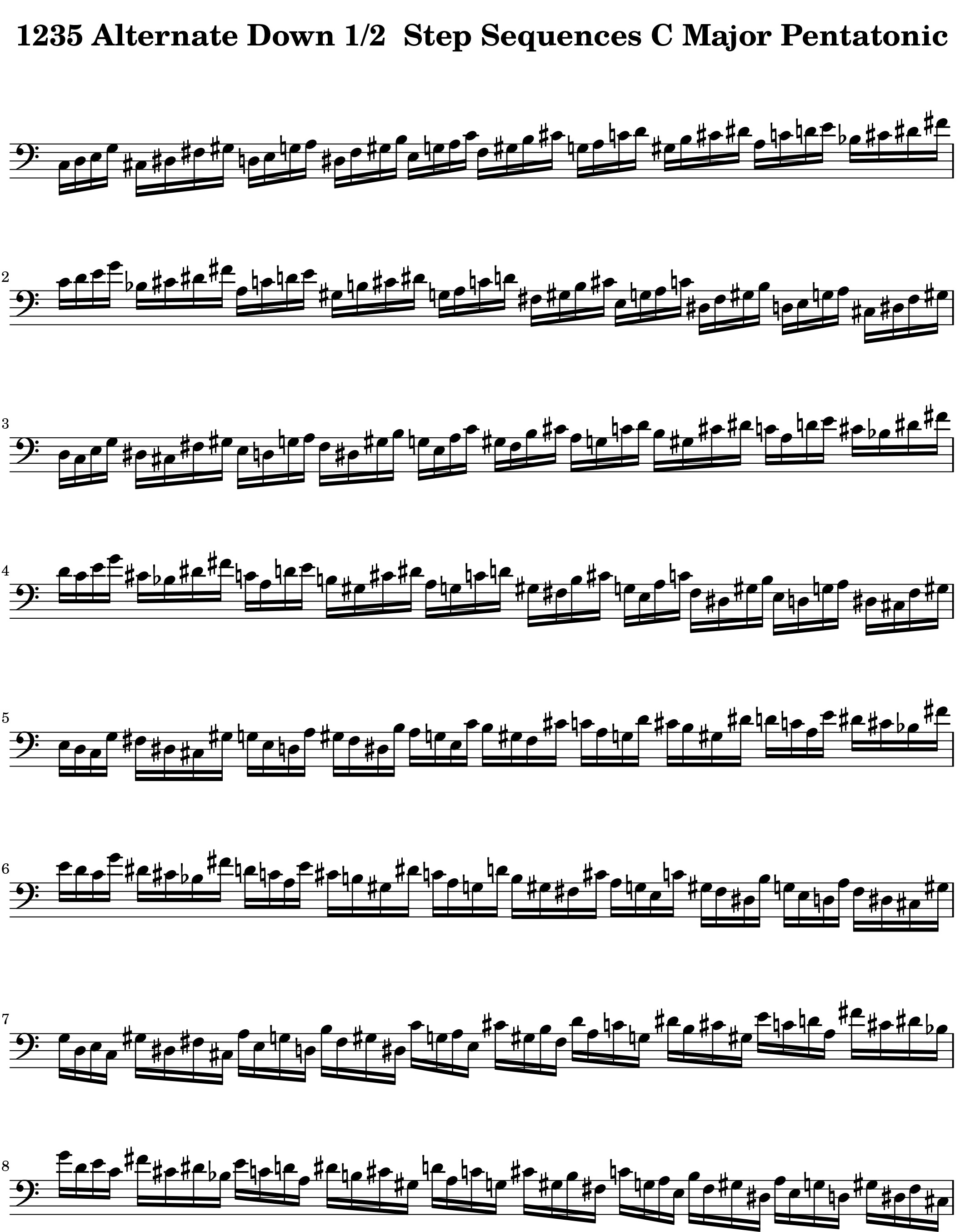 Four Note Side_Stepping_Down_Half_Step-from-the_Modal_Sequence_for__Pentatonic Scale Lexicon V1 Bass Clef by Bruce Arnold for Muse Eek Publishing