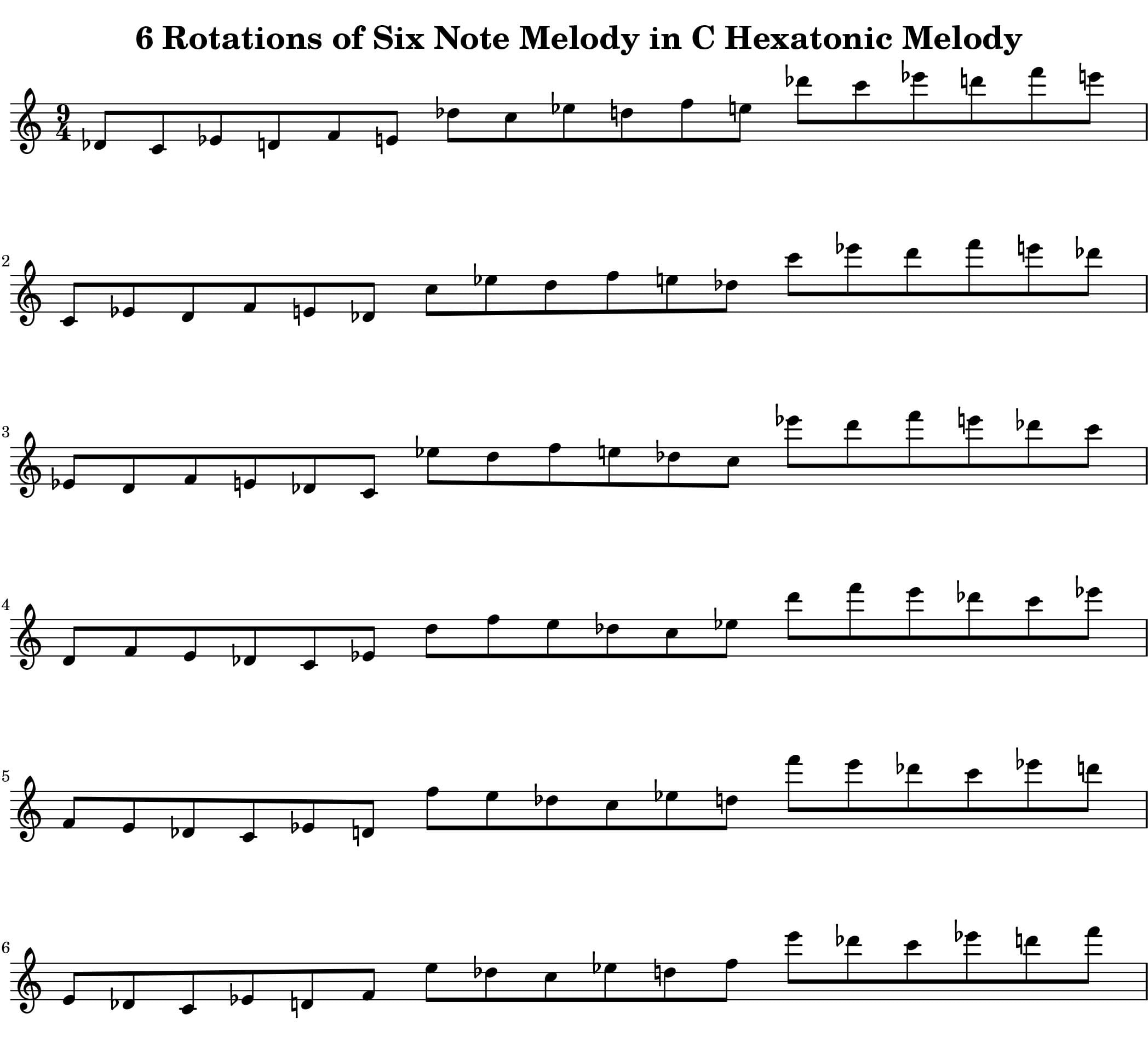 Melodic Rotations of six half steps by Bruce Arnold for Muse Eek Publishing Inc.