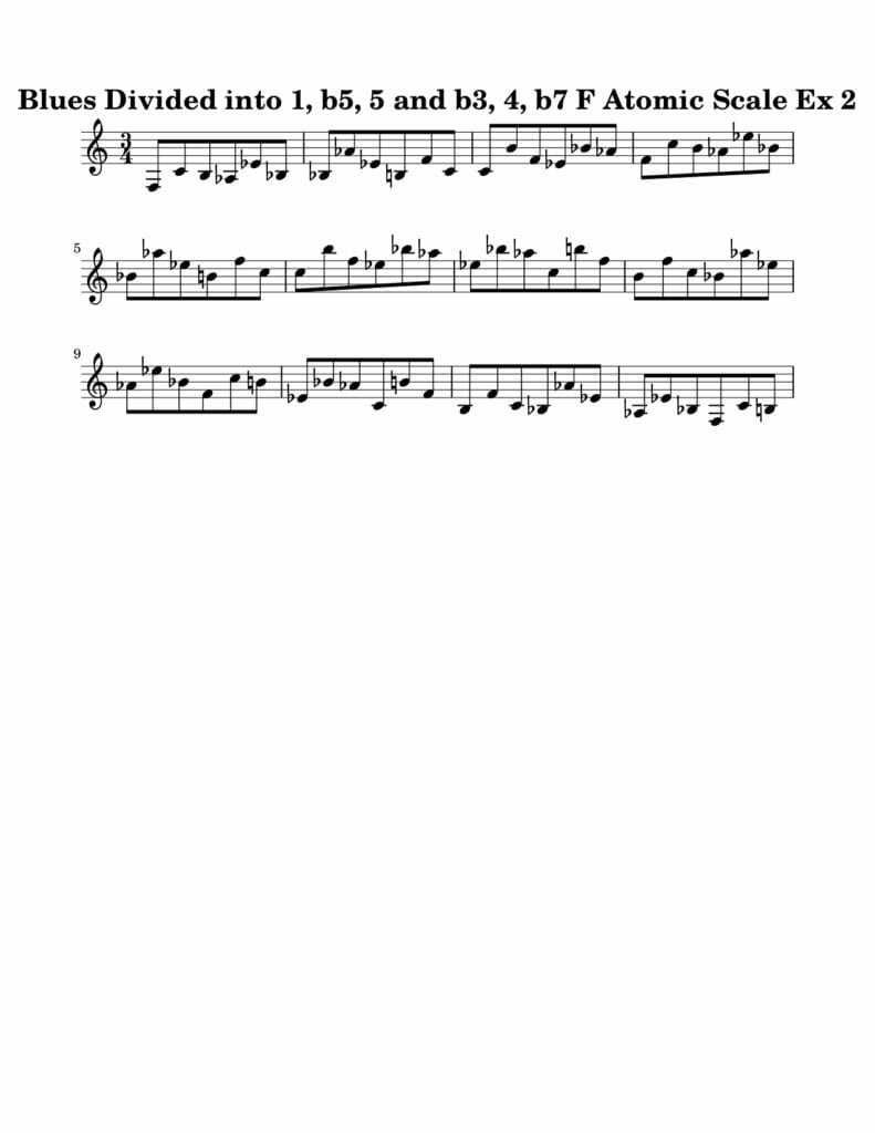 02_Blues-016-027_Atomic_Scale_Ex_2_Key_F Harmonic and Melodic Equivalence Volume 21A