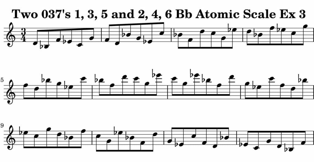 03_037_Degree_1_3_5_2_4_6_Atomic_Scale_Ex_3_Key_Bb_Harmonic-and-Melodic-Equivalance-19A