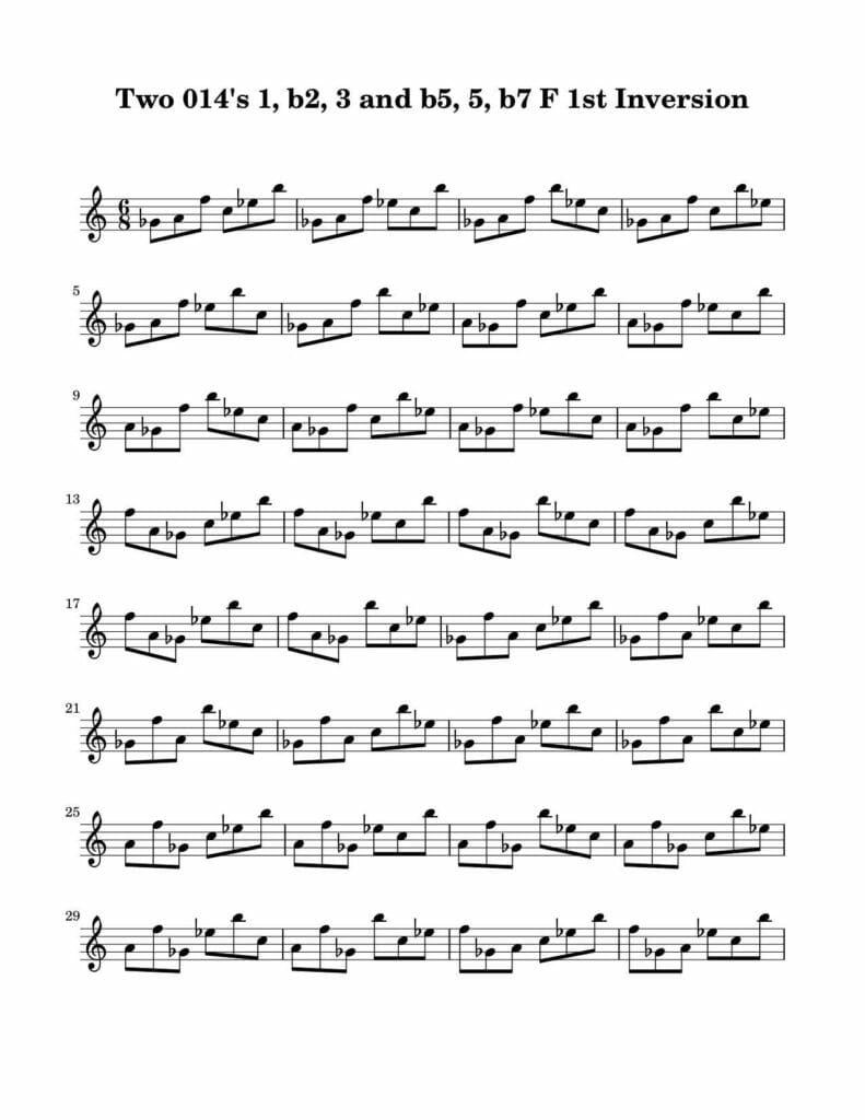 02_014_Degree_1_b2_3_b5_5_b7_1st_Inversion_Key_F-Harmonic-and-Melodic-Equivalence-V4-by-bruce-arnold-for-muse-eek-publishing-inc