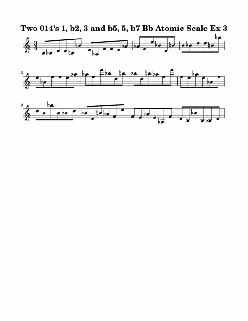 03_014_Degree_1_b2_3_b5_5_b7_Atomic_Scale_Ex_3_Key_Bb-Harmonic-and-Melodic-Equivalence-V4-by-bruce-arnold-for-muse-eek-publishing-inc