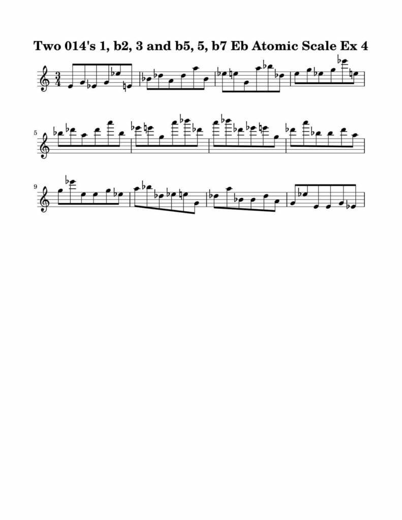 04_014_Degree_1_b2_3_b5_5_b7_Atomic_Scale_Ex_4_Key_Eb-Harmonic-and-Melodic-Equivalence-V4-by-bruce-arnold-for-muse-eek-publishing-inc
