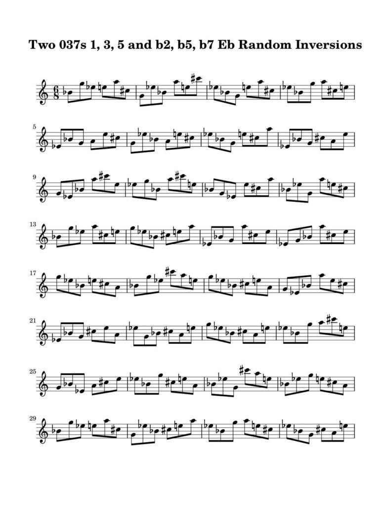 04-037-Degree-1-3-5-b2-b5-b7-Random-Inversions-Key-Eb-Harmonic-and-Melodic-Equivalence-V19E-Two-Triad-Pair-by-Bruce-Arnold-for-Muse-Eek-Publishing-Inc